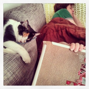 Cross stitching while these two nap!