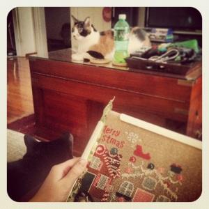 Working on Gingerbread Lane with both kitties