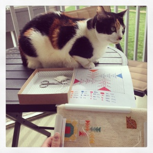 Stitching on the porch with my buddy Cora