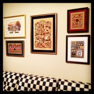 The Amateur Librarian // Cross Stitch Collage Wall