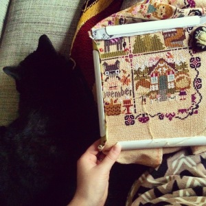 It was so much fun to stitch the Once Upon a Time sampler along with the cats all year long!