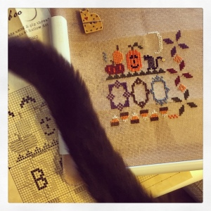 Stitching and hanging out with the cats