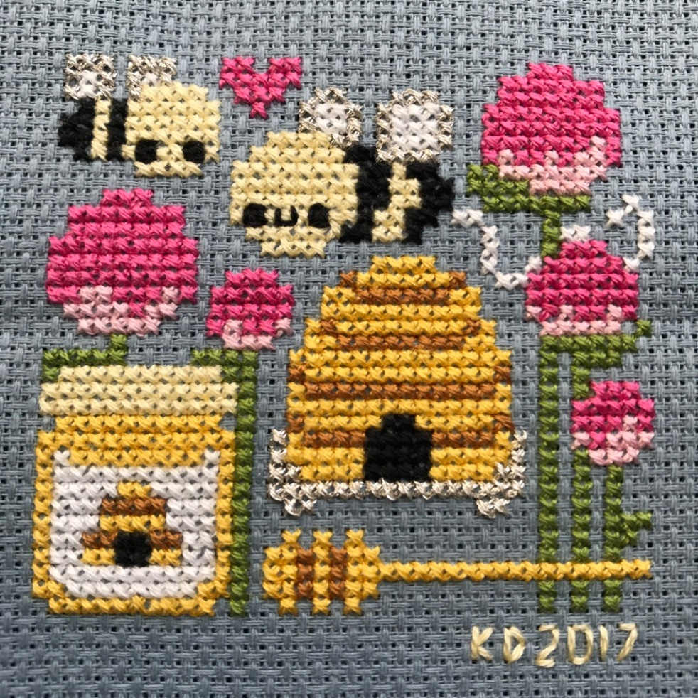 The Amateur Librarian // The Bee Keeper Cross Stitch