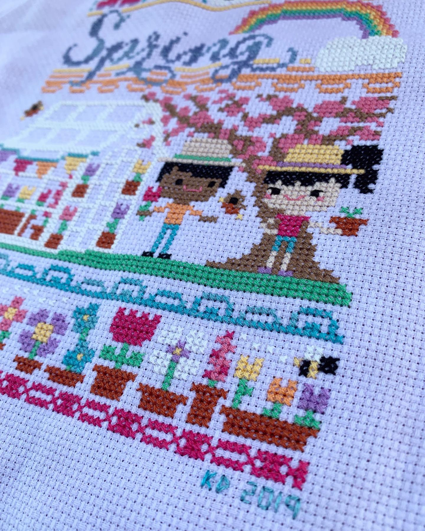 Spring Garden Party Cross Stitch